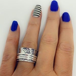 Spinner Ring Sterling Silver Stamped Wide Band